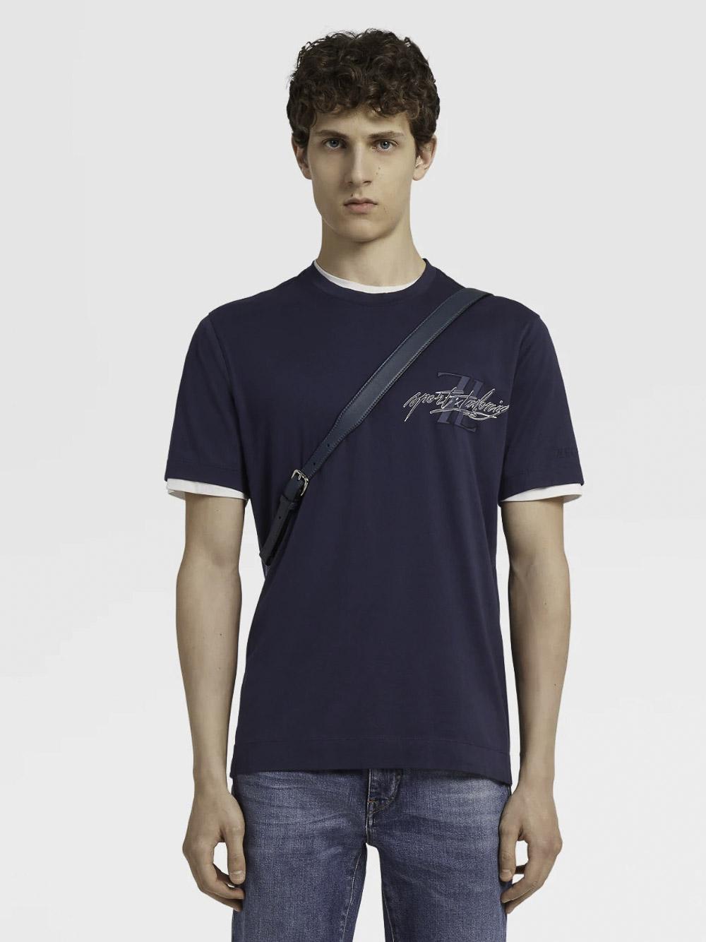 ZEGNA Μπλούζα T-Shirt VV372 ZZ630M-6M1 ΜΠΛΕ