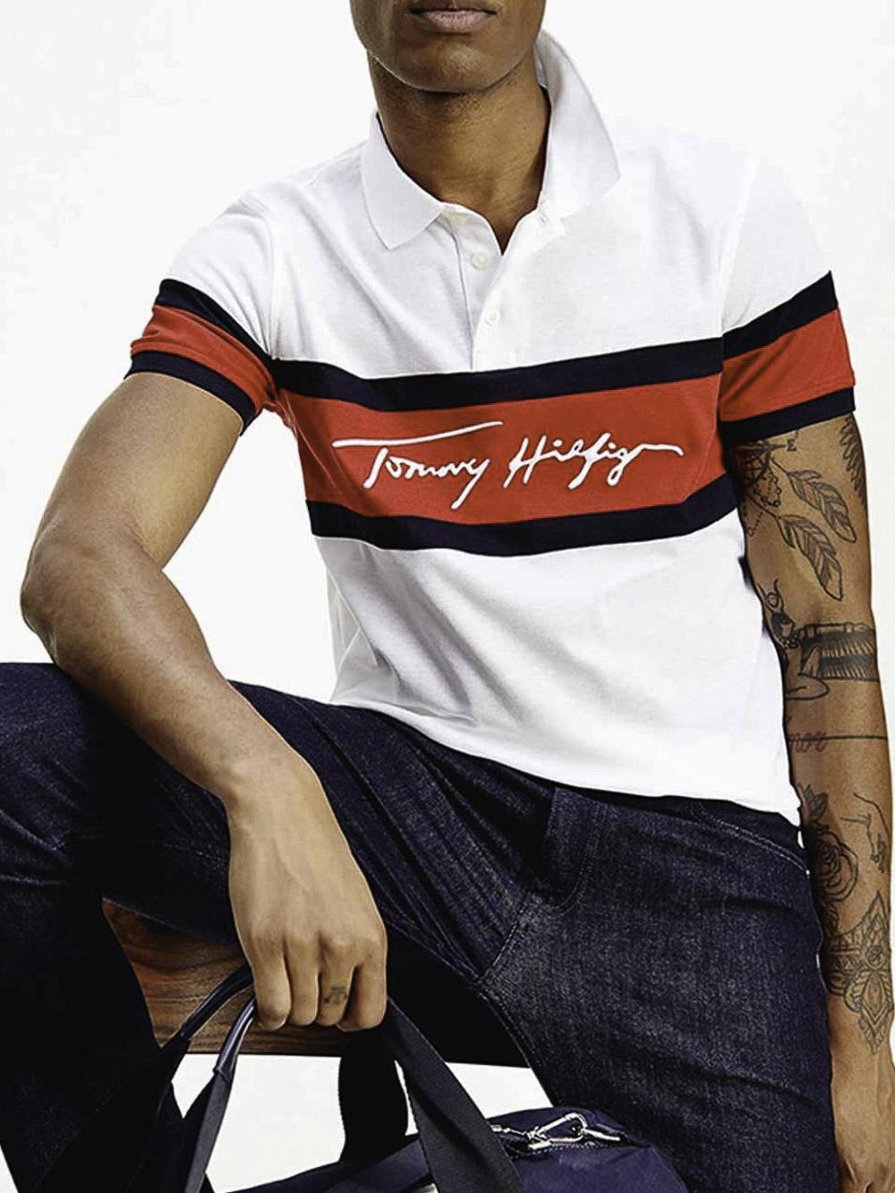 TOMMY HILFIGER Μπλούζα Polo MW0MW17801-0FA ΛΕΥΚΟ