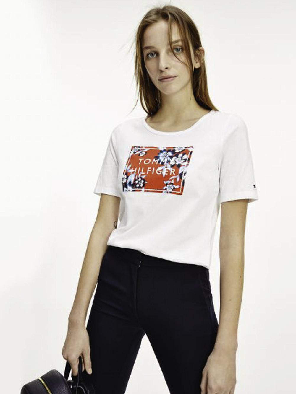 TOMMY HILFIGER Μπλούζα T-Shirt WW0WW30654-YBR ΛΕΥΚΟ
