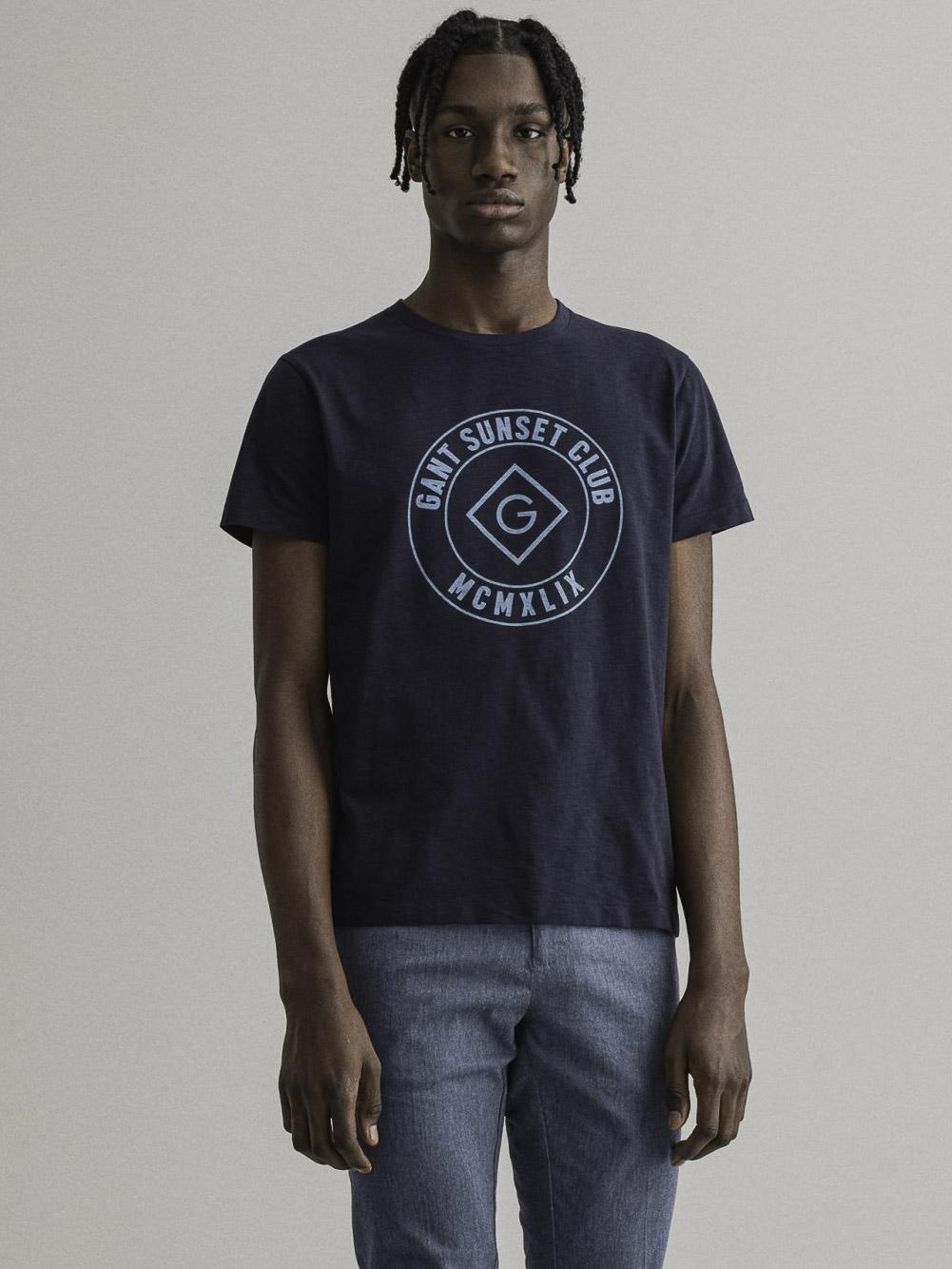 GANT Mπλούζα t-shirt 3G2023024-433 ΣΚΟΥΡΟ ΜΠΛΕ