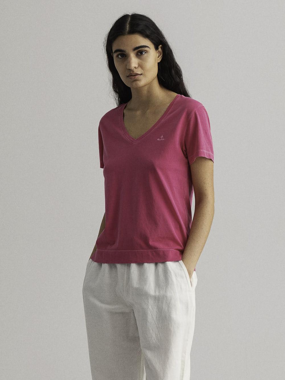 GANT Μπλούζα t-shirt 3GW4203468-673 ΣΚΟΥΡΟ ΦΟΥΞΙΑ