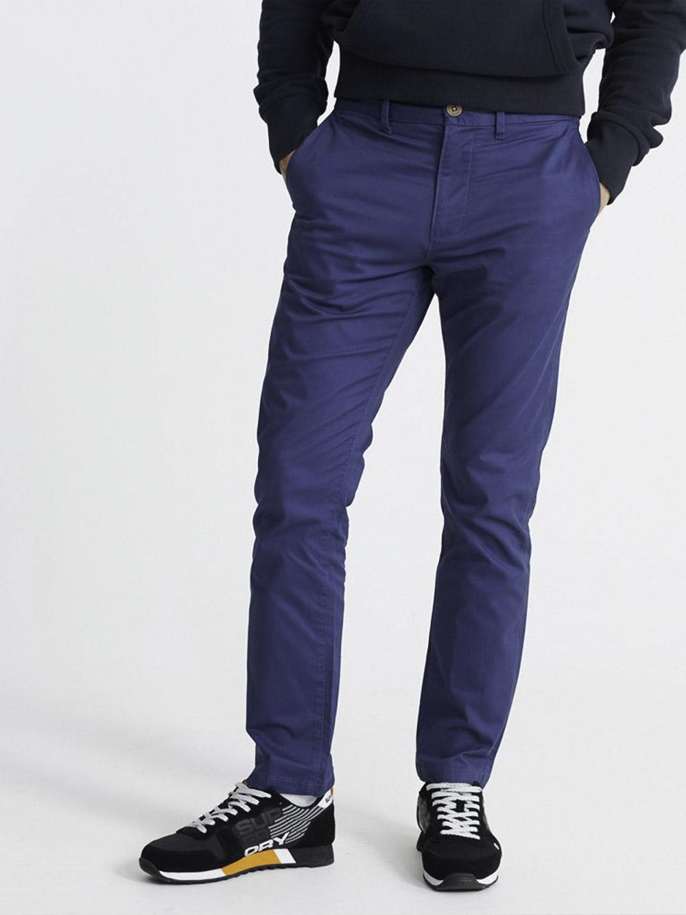 SUPERDRY Παντελόνι chinos M7010463A-P74 ΜΠΛΕ