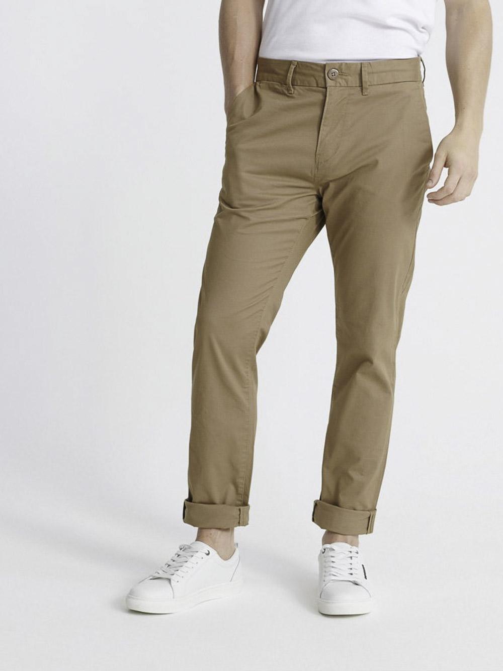 SUPERDRY Παντελόνι chinos M7010463A-GVK ΧΑΚΙ ΠΛΥΜΕΝΟ