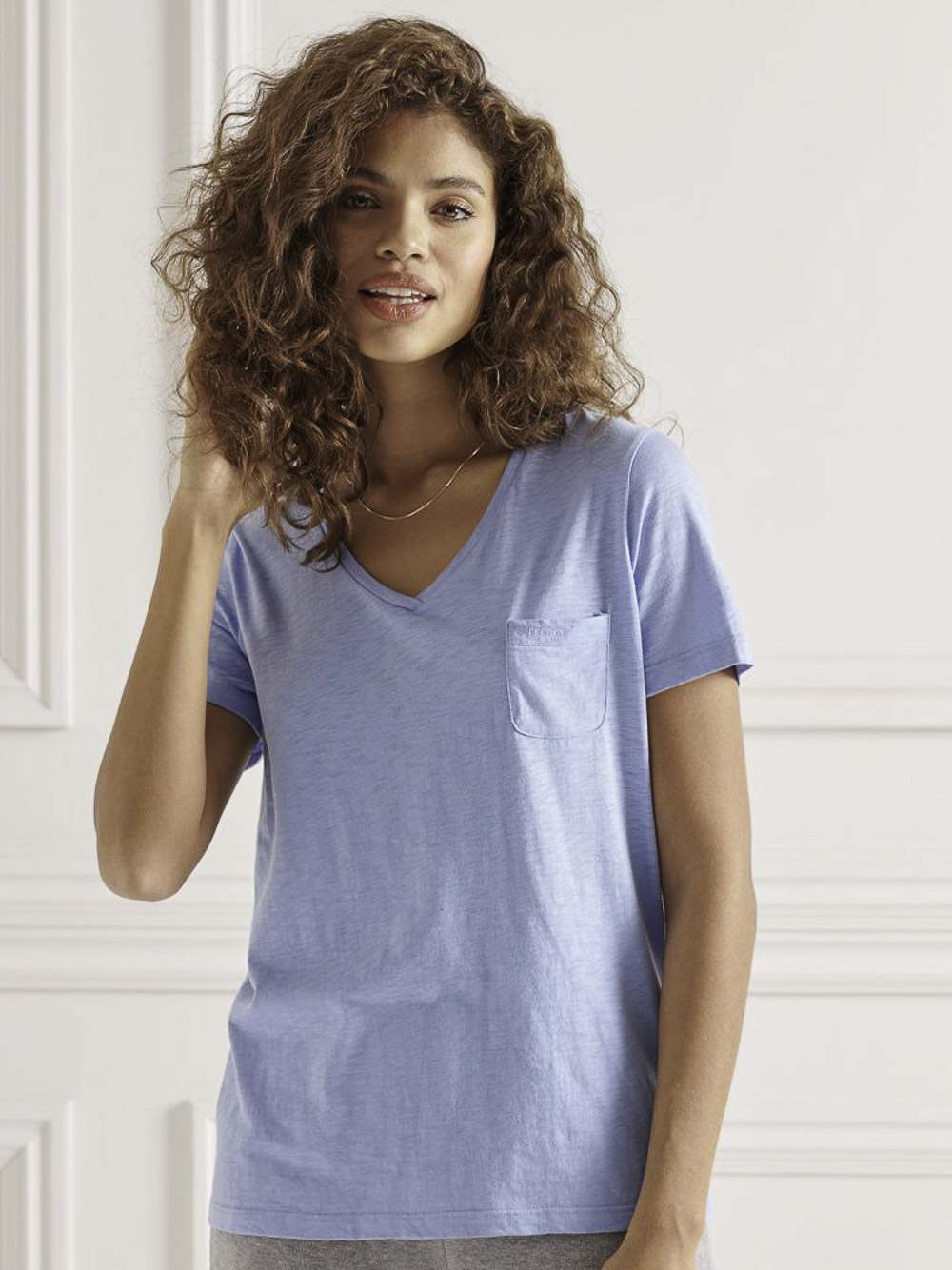 SUPERDRY Μπλούζα t-shirt W1010521A-5BW ΓΑΛΑΖΙΟ ΣΚΟΥΡΟ