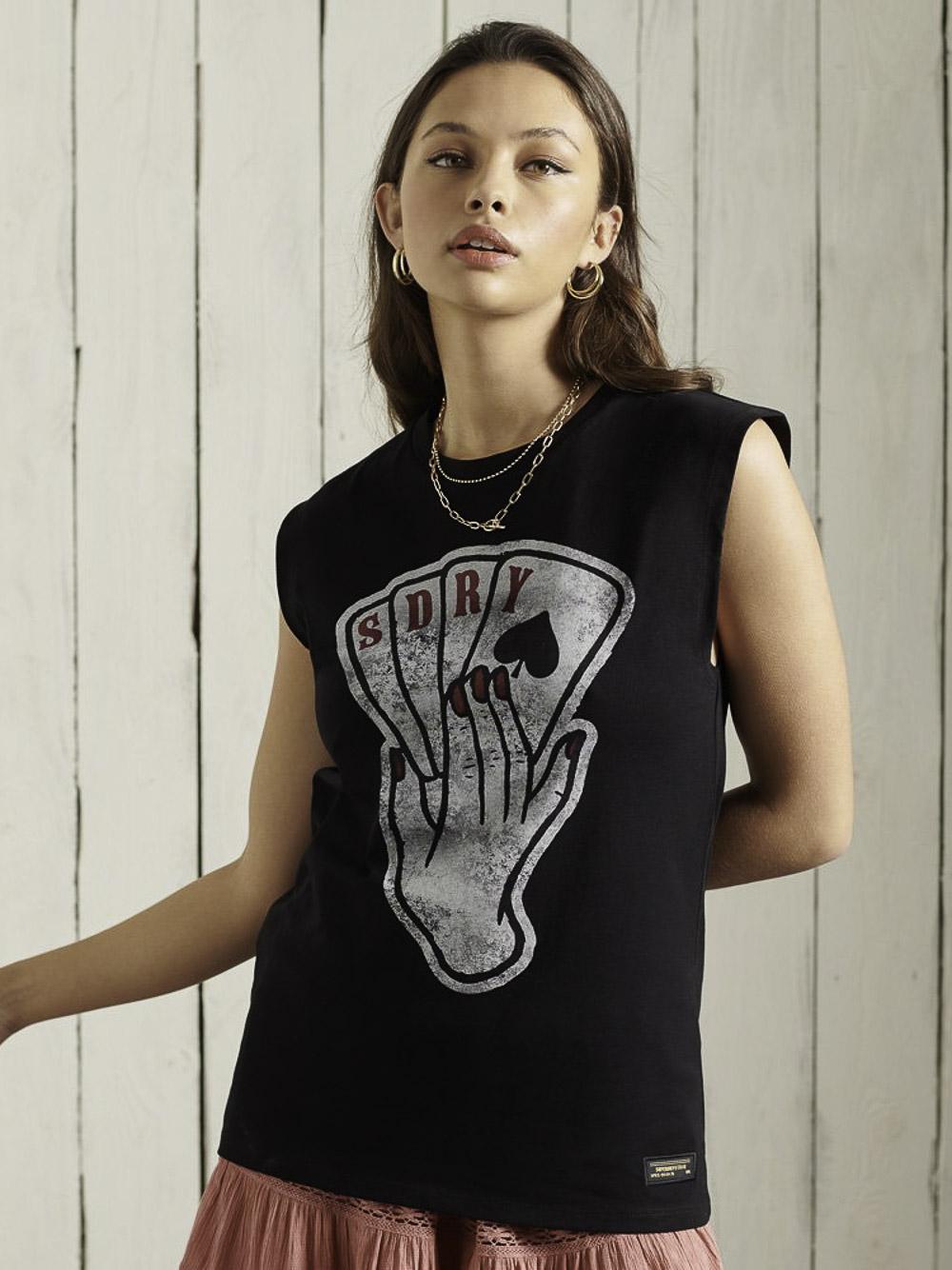 SUPERDRY Mπλούζα t-shirt W6010739A-02A ΜΑΥΡΟ