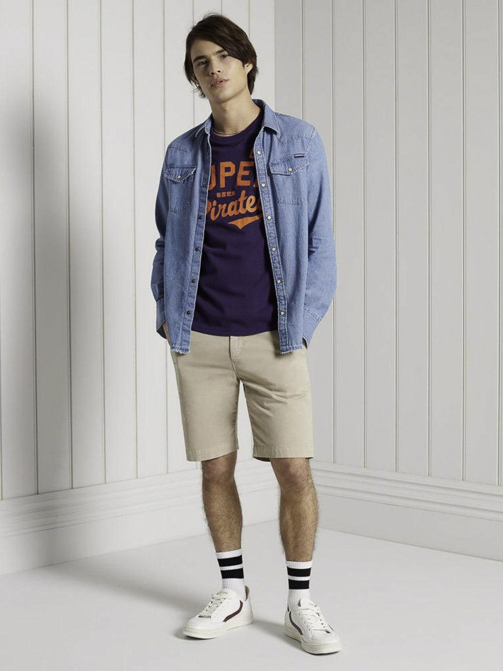 SUPERDRY Μπλούζα t-shirt M1010881A-NOA ΜΩΒ