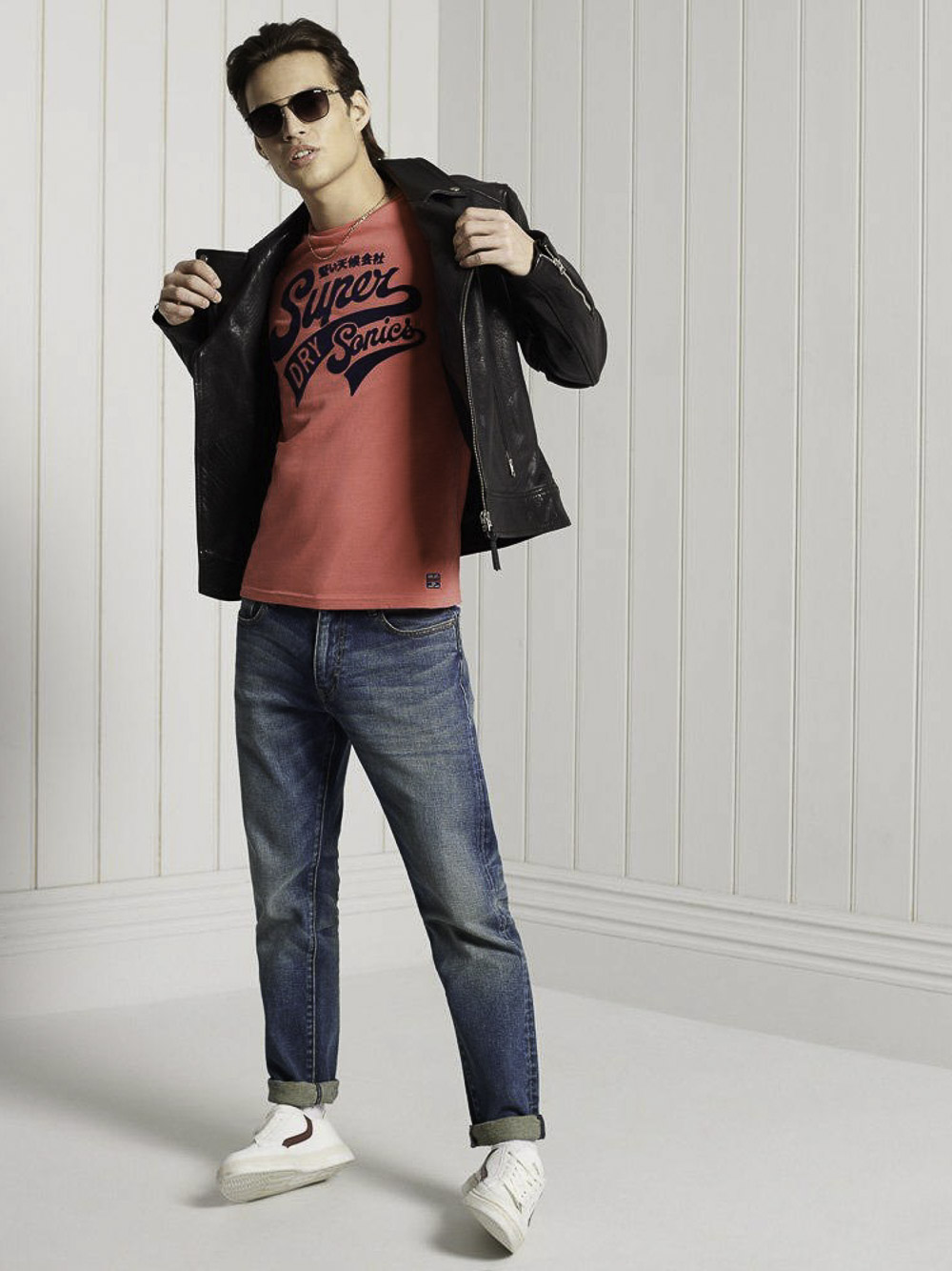 SUPERDRY Μπλούζα t-shirt M1010881A-5DN ΦΟΥΞΙΑ