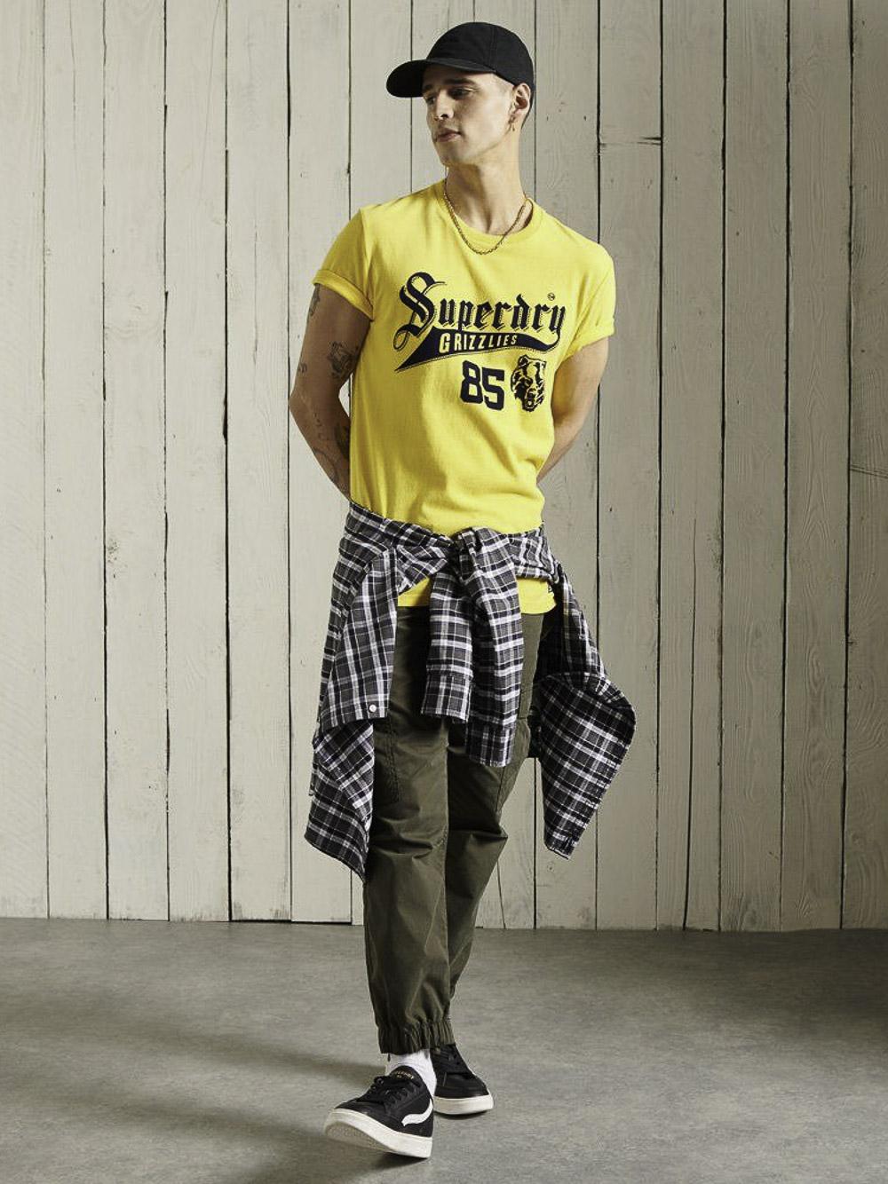 SUPERDRY Μπλούζα t-shirt M1010881A-NWI ΚΙΤΡΙΝΟ ΕΝΤΟΝΟ