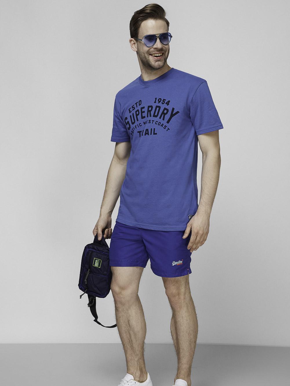 SUPERDRY Mπλούζα t-shirt M1010887A-BYE ΚΛΑΣΙΚΟ ΜΠΛΕ