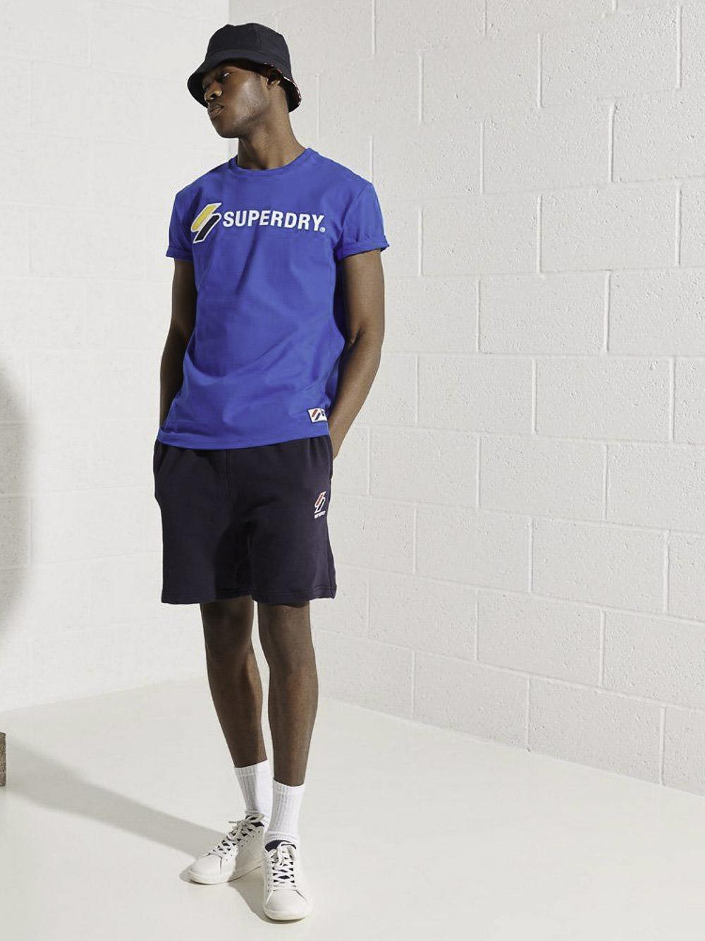 SUPERDRY Mπλούζα t-shirt M1010971A-06G ΜΠΛΕ ΡΟΥΑ