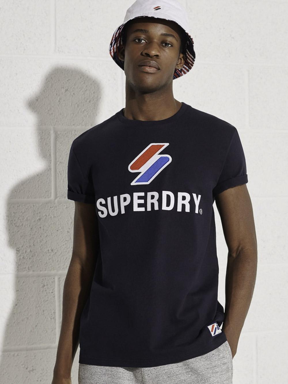 SUPERDRY Μπλούζα t-shirt M1010967A-JKE ΣΚΟΥΡΟ ΓΑΛΑΖΙΟ