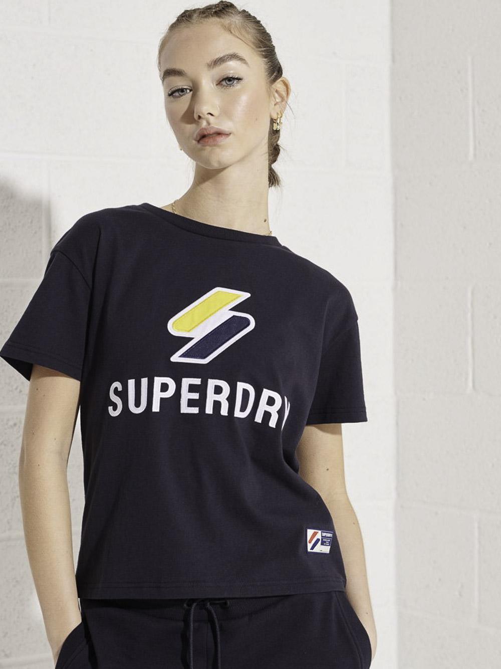 SUPERDRY Mπλούζα t-shirt W1010495A-JKE ΣΚΟΥΡΟ ΓΑΛΑΖΙΟ