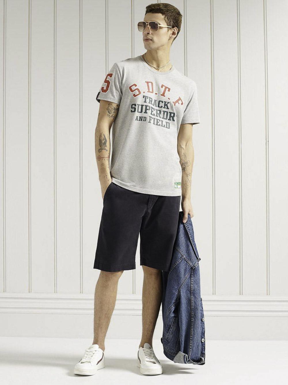 SUPERDRY Μπλούζα t-shirt M1010846A-07Q ΓΚΡΙ ΑΝΟΙΧΤΟ