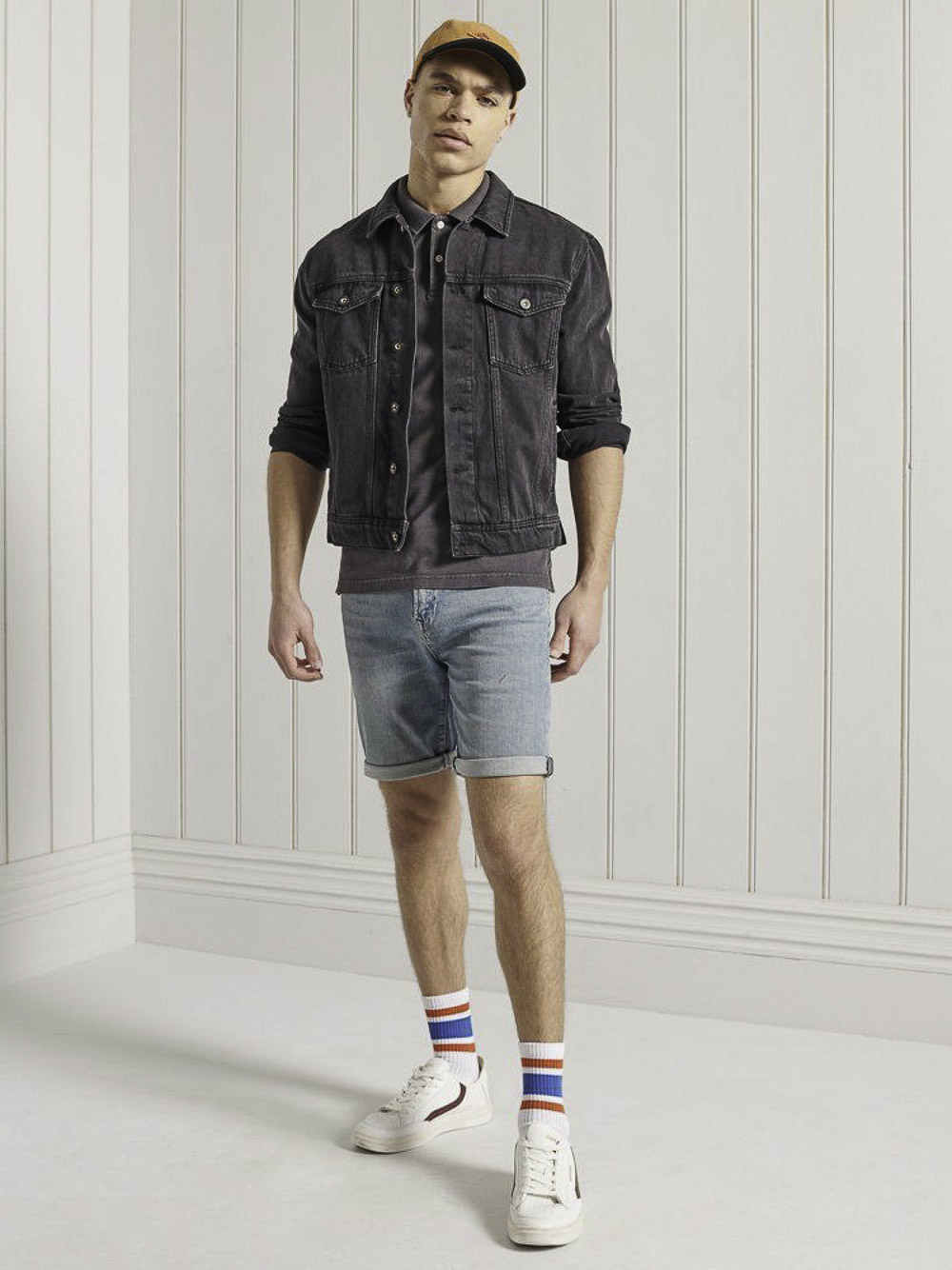 SUPERDRY Μπλούζα polo M1110014A-06A ΑΝΘΡΑΚΙ