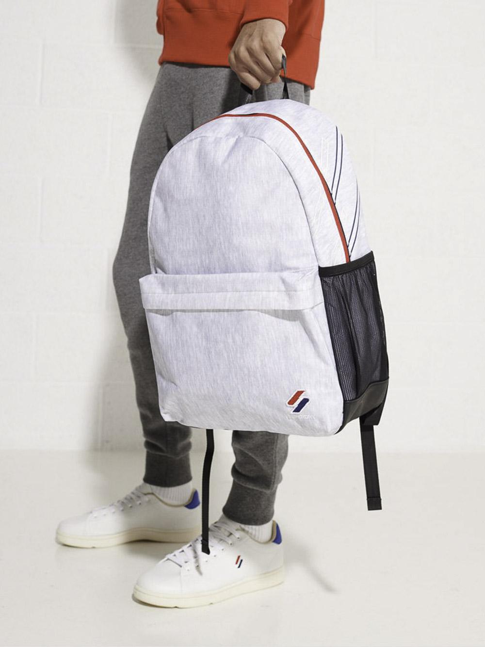 SUPERDRY Τσάντα back pack M9110399A-07Q ΓΚΡΙ ΑΝΟΙΧΤΟ