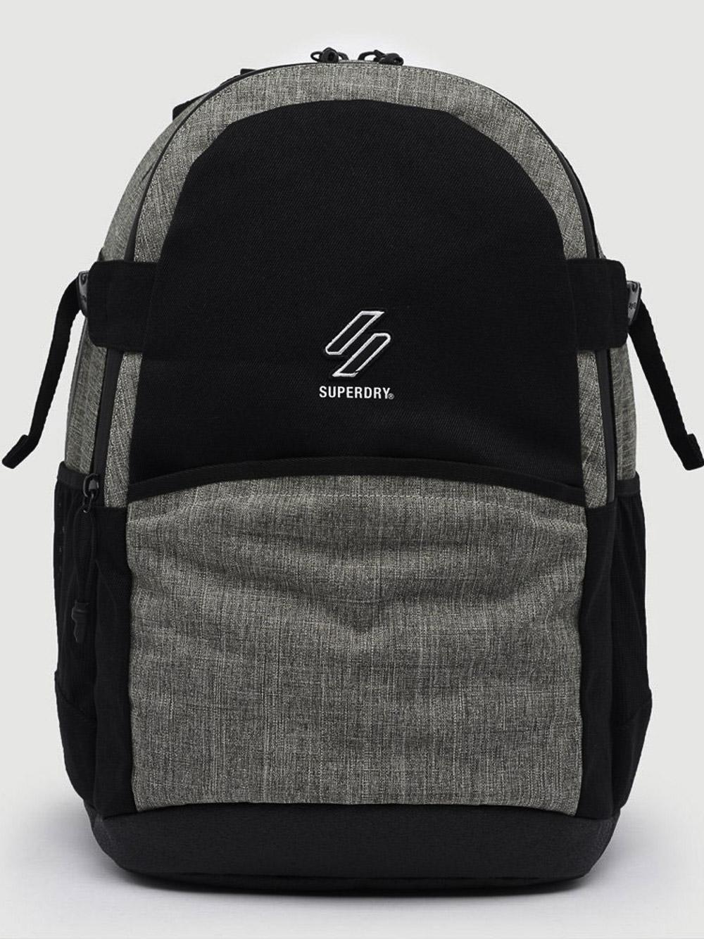 SUPERDRY Τσάντα back pack M9110425A-NLN ΜΑΥΡΟ ΓΚΡΙ