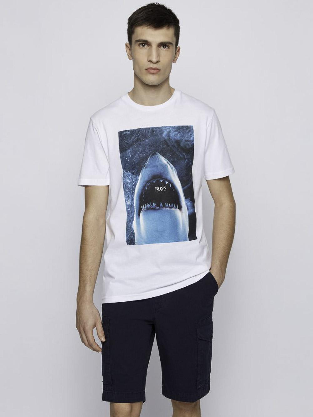 BOSS Μπλούζα t-shirt 50450911-100 ΛΕΥΚΟ
