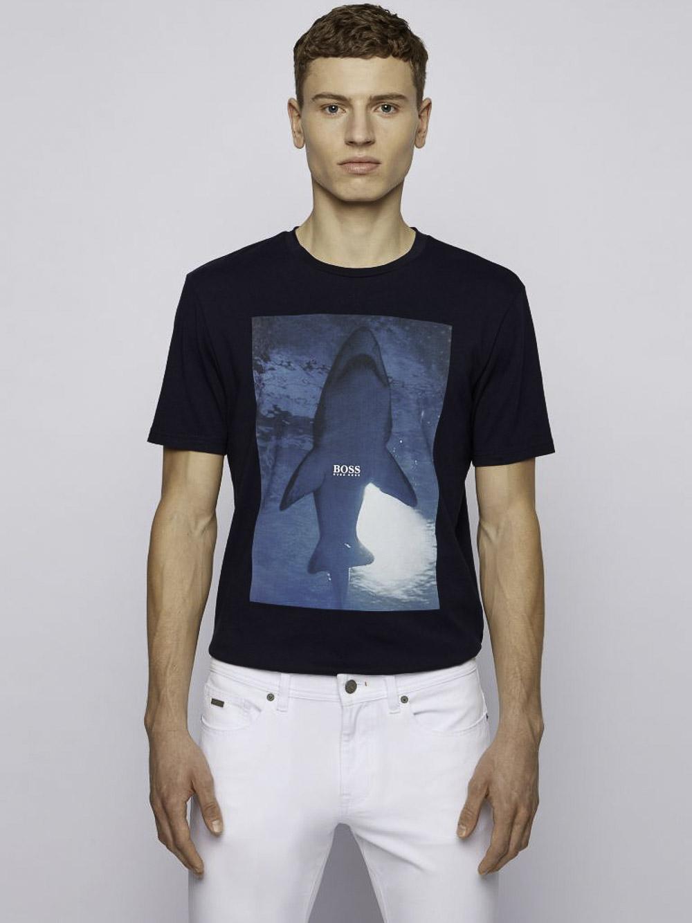 BOSS Μπλούζα t-shirt 50450911-404 ΜΠΛΕ ΣΚΟΥΡΟ