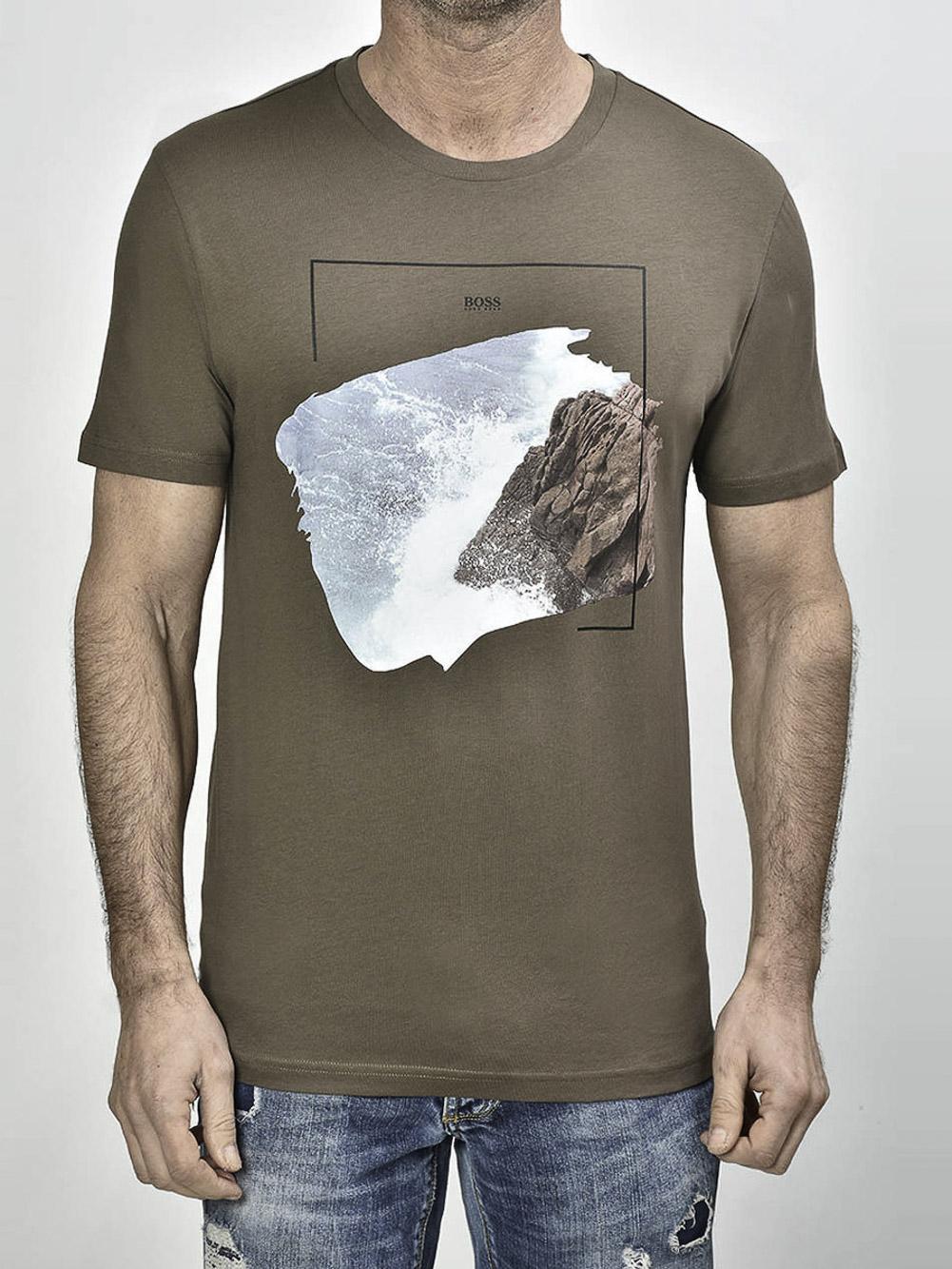 BOSS Μπλούζα t-shirt 50450898-250 ΜΠΕΖ-ΧΑΚΙ