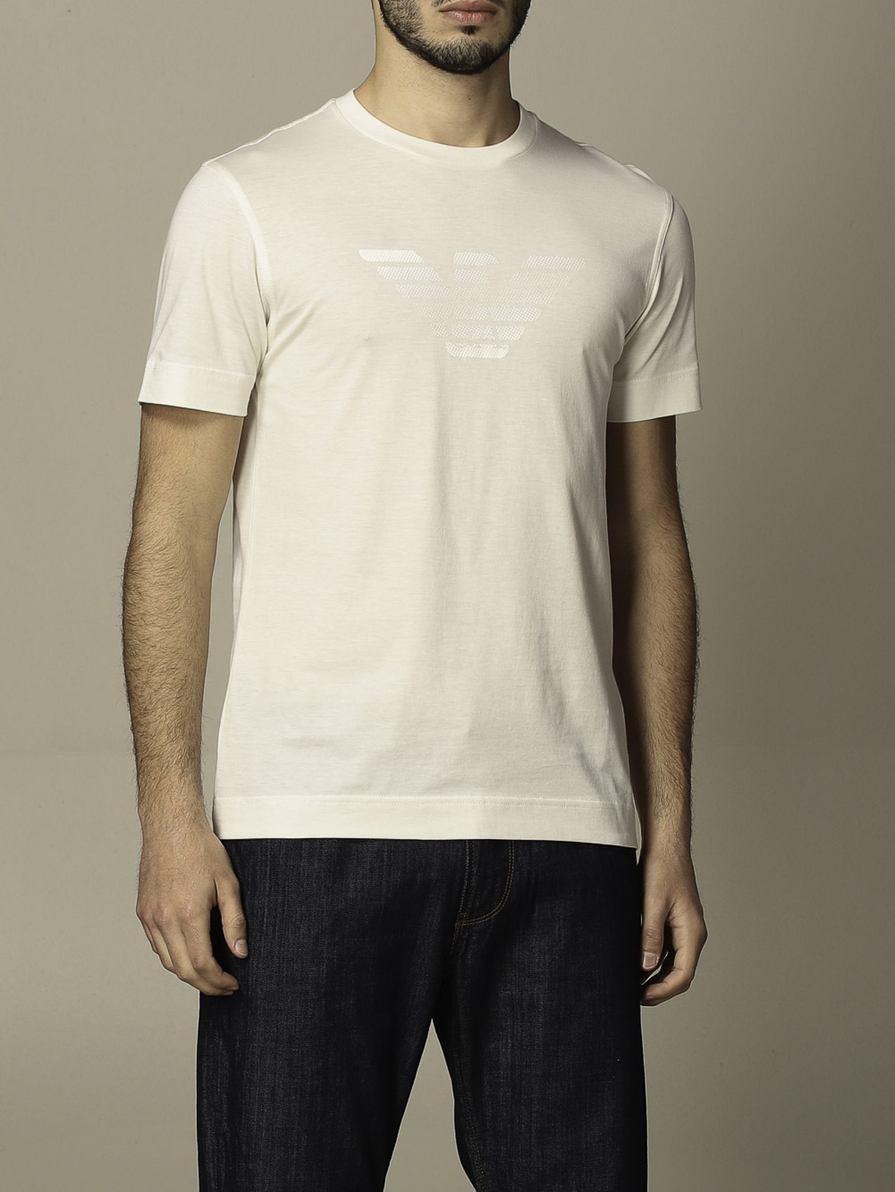 EMPORIO ARMANI Μπλούζα t-shirt 3K1TE61JSHZ-0101 ΕΚΡΟΥ