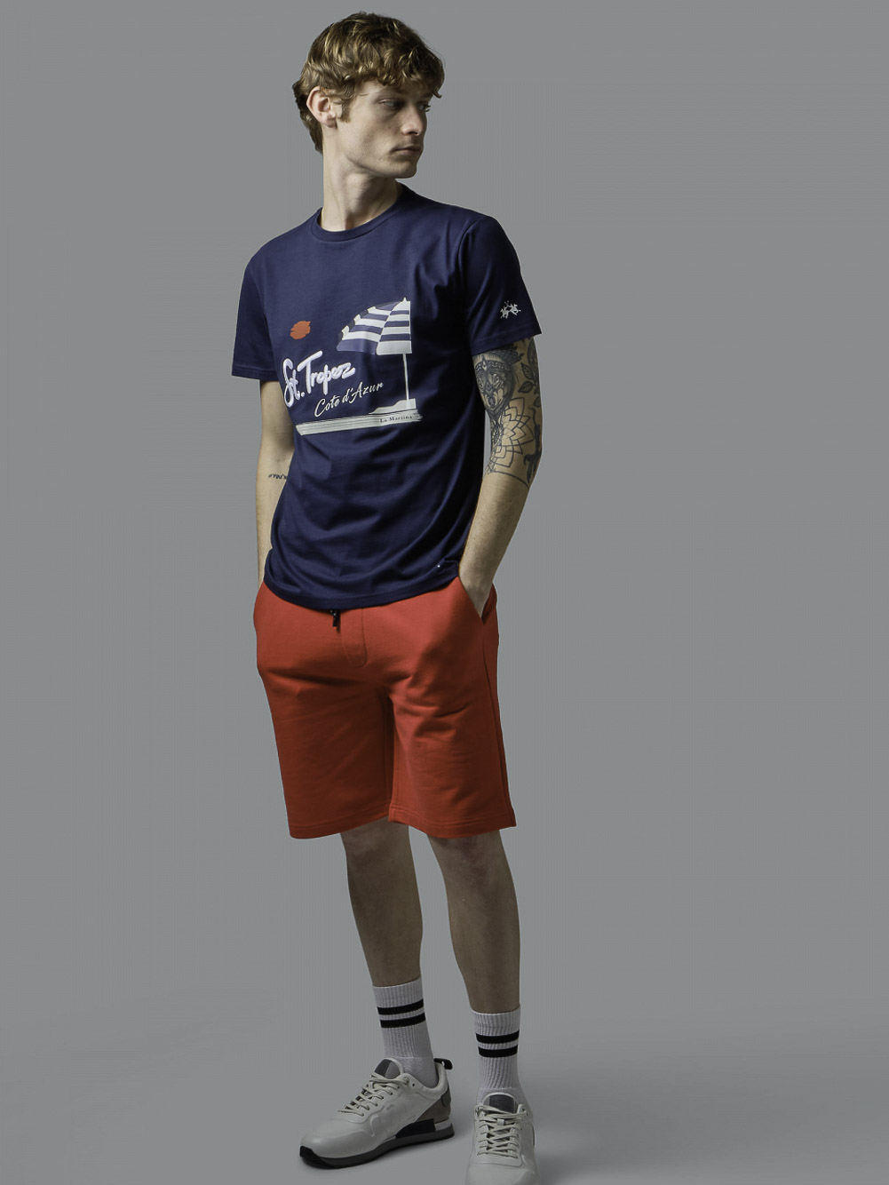 LA MARTINA Μπλούζα t-shirt 3LMRMR314-7017 ΜΠΛΕ