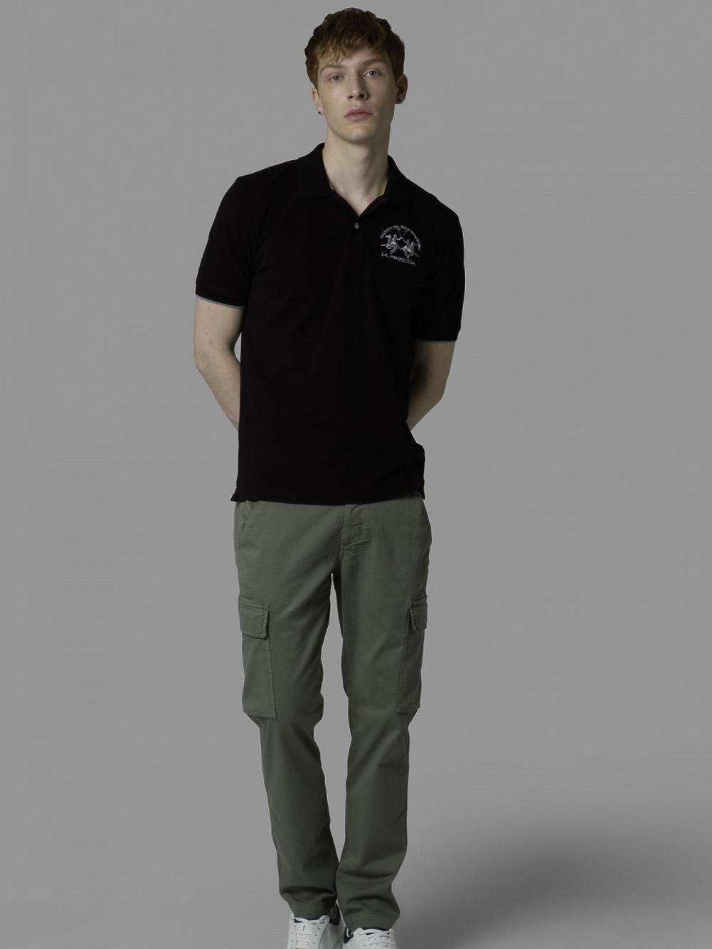 LA MARTINA Μπλούζα polo 3LMCCMP01-9999 ΜΑΥΡΟ