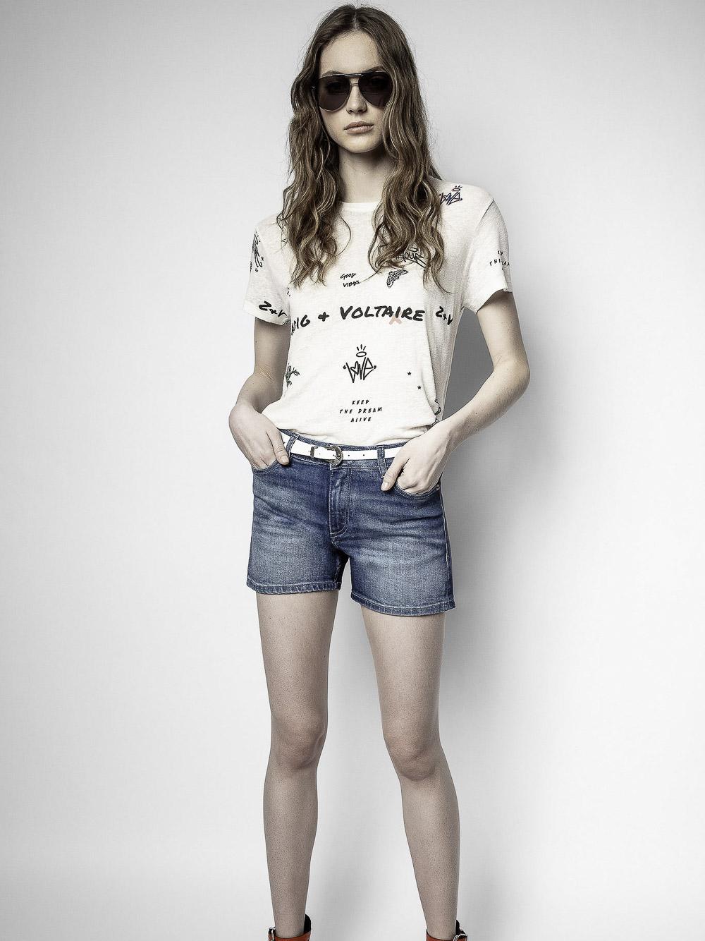 ZADIG & VOLTAIRE Μπλούζα T-Shirt SKTS1812F ΕΚΡΟΥ