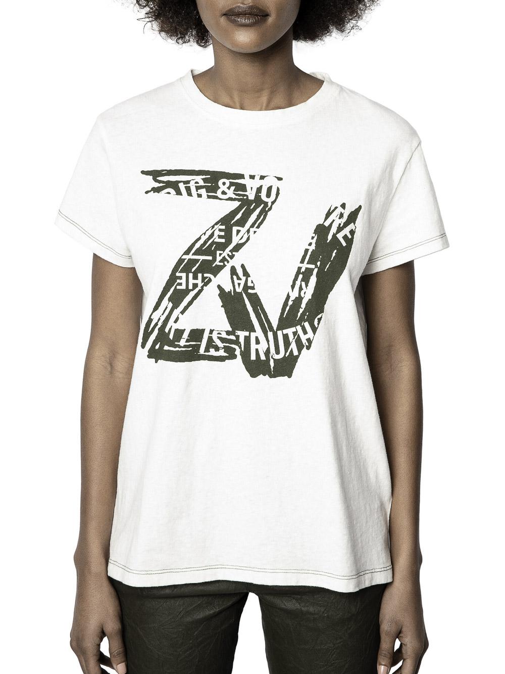 ZADIG & VOLTAIRE Μπλούζα T-Shirt SKTT1803F ΕΚΡΟΥ