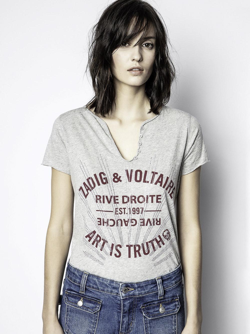 ZADIG & VOLTAIRE Μπλούζα T-Shirt WJTS7410F ΓΚΡΙ