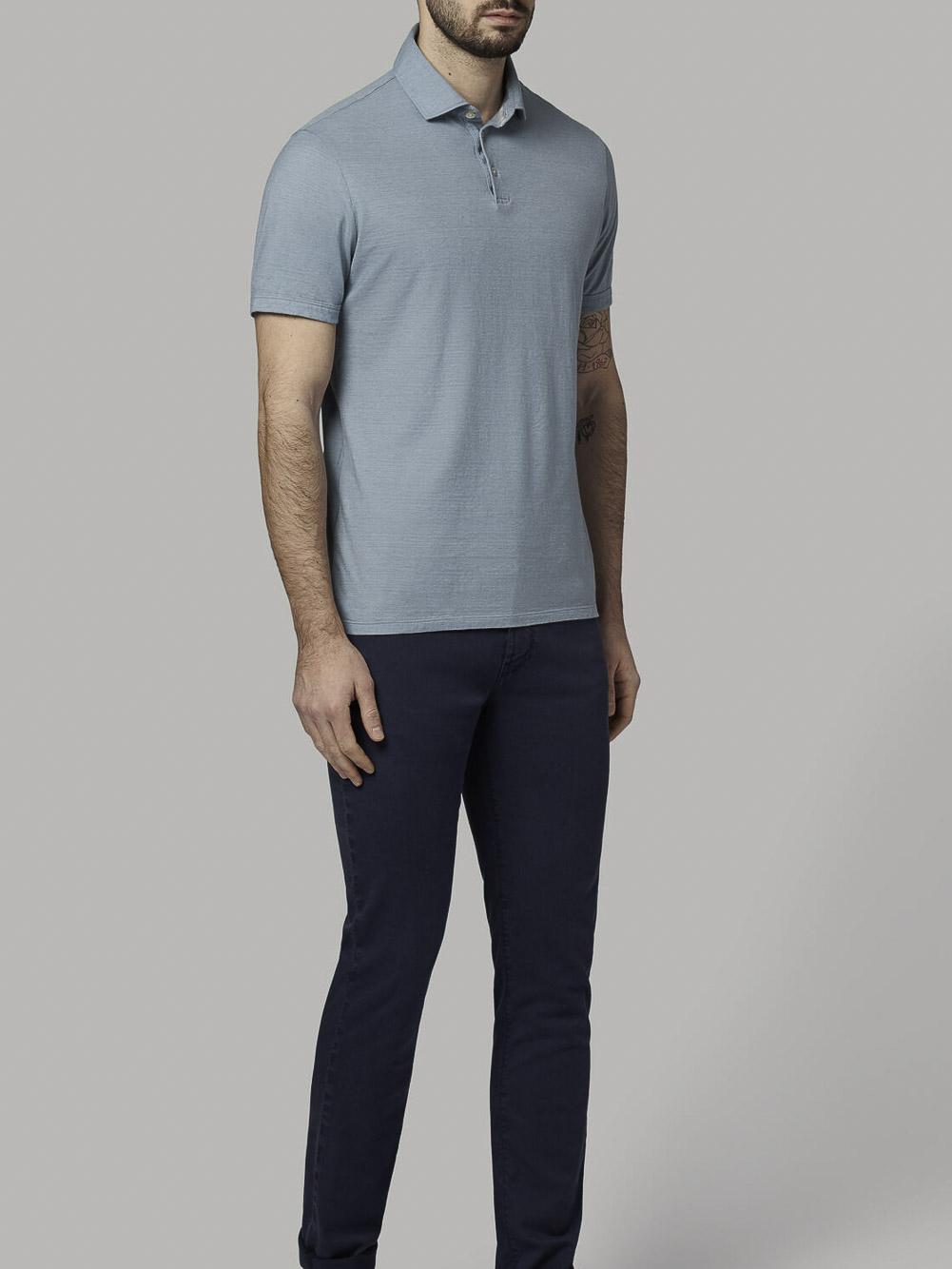 BOGGI Μπλούζα polo B021P023501 ΣΙΕΛ